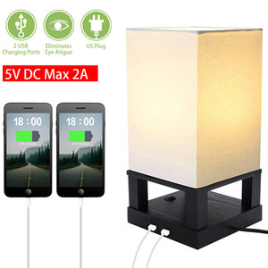 US Stock 40W Table Lamps with usb port and outlet Black Four-Corner Base (Dual USB Interface) table lamp for living room eye caring