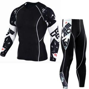 YEMEKE New Men Suits Nova de secagem rápida respirável de mangas compridas Apertado-encaixe de duas peças Top + calças Shapers alta qualidade