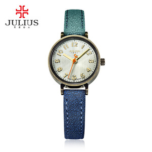 Blue Jeans-Uhr-Frauen-Quarz Antike Julius Uhren Luxuxmarken beiläufige kühle Steigungs-Lederband Bronze Whatch Uhr JA-855