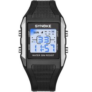 SYNOKE hombres del reloj de la plaza digital de la manera simple prueba de golpes Cronómetro Alarma 3Bar Semana pantalla Hombre Reloj de pulsera