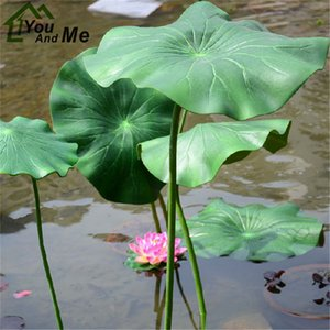 1Pc 17 28cm Artificial Lotus Leaf With Long Stem Floating Pool Decorative Aquarium Fish Pond Scenery Garden Decoration