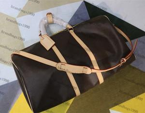 55cm 50CM 45cm Borse moda classica Uomini borsa da viaggio in vera pelle bag Trim dei bagagli da viaggio con il trasporto della serratura Canvas Handbag libero