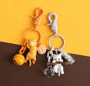 Ki tten Keychain Female Cat Doll Cute Creative Car Key Chain Bag Hanging School Bag Pendant keybuckle
