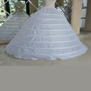 Jüpon Balo Gelinlik Petticoat Beyaz İpli Kayış 8 Hoops Performans Artı boyutu Uzun Petticoat