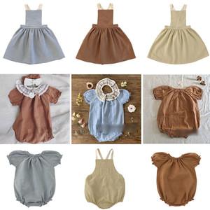 EnkeliBB 2020 dalla cinghia di estate delle ragazze del bambino Liilu cotone di alta qualità della ragazza dei bambini pagliaccetto ed il vestito della sorella vestiti coordinati