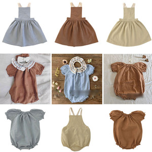 EnkeliBB 2020 여름 Liilu 유아 여자면 스트랩 드레스 높은 품질 어린이 소녀 뛰어 돌아 다니는 및 복장 자매 매칭 의류