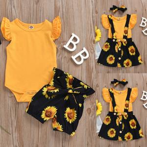2020 Infant Baby Girls Kid Jumpsuit Cotton Tops Sunflower Print Pants Skirts Clothes Set