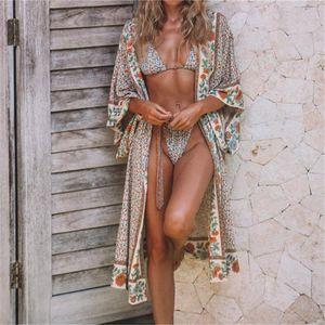 Хлопок Пляж Кимоно Женщина Обложка окно печать Пляж прикрывает Саид де Banho Para Praia Sarong Robe де Plage до мундира # Q803