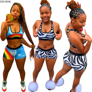 2020 Summer Women Two Pieces Sets Tracksuits Street Print Crop Tops Shorts Leggings Suit Sporty Fitness 2 pcs Outfit GL2525