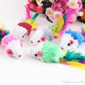 Colorful Feather Grit Small Mouse Cat Toy For Cat Feather Funny Playing Pet dog Cat Small Animals feather Toys Kitten