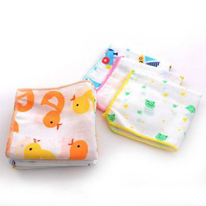 child washcloths handkerchief Cotton towel gauze square baby boys printed saliva towel double gauze thin small handkerchief
