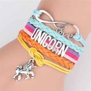 2 colori di vendita calda Unicron braccialetto di colore unicorno pendente della lettera di polsino del braccialetto popolare di lavoro a maglia JJ521 regalo gioielli Bracciale