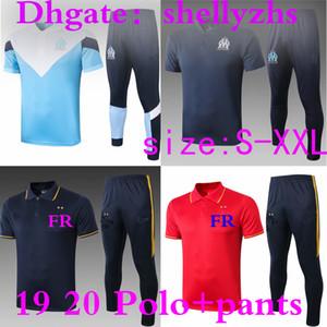 Polo + calças de futebol camisas 19 20 Olympique de Marseille manga curta Training Kit 2019 camisas france futebol Polo PAYET Maillot De kit completo