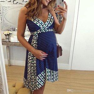 2020 Art und Weise Frauen Schwangere Mutterschaftskrankenpflege-Streifen Stillen Sommer rückenfreies Kleid Strand Kleidung für schwangere Frauen 2020