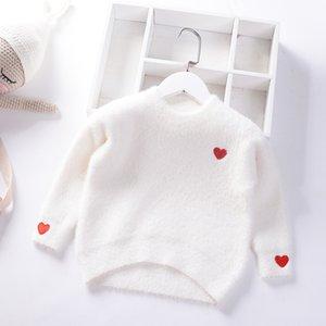 2019 Sonbahar Kış Girls Triko vizon kadife Prenses Kazak Aşk sıcak Giyim Çocuk bebek Çocuk Gevşek Giyim örme