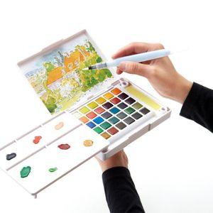 Sakura 18/24/30/36 Peintures Aquarelle Boîte Paintbrush Portable Aquarelle Peinture Set solide pour le dessin Fournitures de peinture