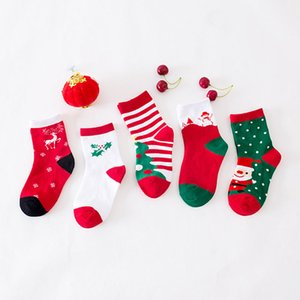 Best! 5 Pairs of Cotton Casual Christmas Socks Baby Cartoon Cute Bow Color Stitching Yarn Thick