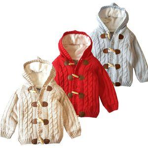 Perakende çocuklar tasarımcı kışlık mont kalın artı kadife erkek kız kazak Kapüşonlu ceket Bullhorn toka ceketler Dış Giyim çocuk giyim