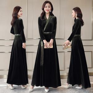 Nouvelle Asie îles du Pacifique Vêtements pleuche manches longues kimono yukata style mode coréenne longue robe costume hanbok moderne