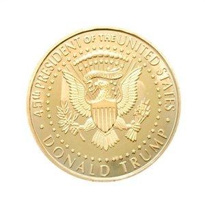 Donald Trump Moeda Comemorativa do metal presidente dos Estados Unidos Colecção Eagle moedas América National Souvenir Bandeira EDC emblema Craft cor do ouro 2 3yn C1