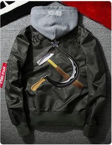 yizlo exército de um homem jaqueta jaqueta masculina jaqueta oeste blusão Sickle martelo bombardeiro