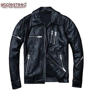 MAPLESTEED 100% naturel en peau de mouton tannées Veste en cuir Homme peau Veste Moto Biker Manteau souple Noir Hommes Manteau en cuir Automne M005