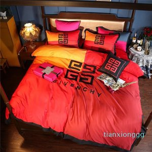 2020 NewLuxury Brand Bedding Supplies Contrast Color Letter Embroidery Home Bedding Sets 4Pcs High Quality Long Stapled Cotton Bedding Suits
