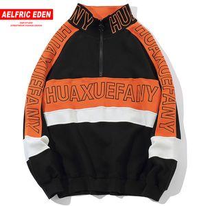 wholesale Half Zipper Hoodies Men Letter 3d Zipper Sweatshirts Streetwear 2018 Autumn Winter Harajuku Pullovers Outwear KJ35