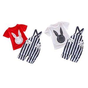 Kids Suits 2Pcs Outfits Set SummerBaby Striped Strap Pants+Cartoon Animal Print Short Sleeve T-shirt Cotton Clothing Set 0-3Y