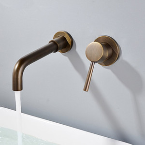 Havza Musluklar Duvar Pirinç Banyo Lavabo Havzası Mikser dokunun Musluk Krom In-duvar Musluk Çift Kol Antik Banyo Monteli