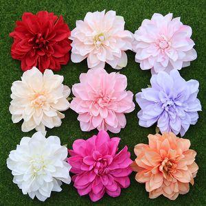 10 pz / lotto grande dalia artificiale testa di fiore 14 cm dia seta fiori da sposa fiori parete fai da te flores partito decorativo per la casa