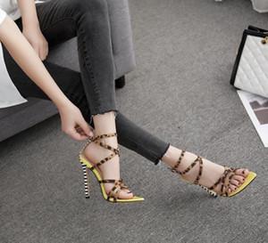 Calientes mujeres del diseñador Venta-leopardo tacones altos sandalias de color rosa amarillo bombas sala de tacón de aguja del partido verano de la señora cruzada atada