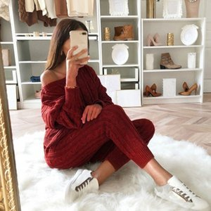 Litthing 2019 Autumn Women Sweater Set Ladies Warm Knitted Sets O Neck Solid Knitting Sweater and Long Pants Set Outfits Women