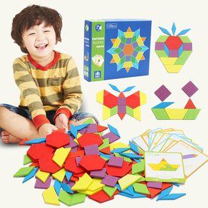 130pcs de quebra-cabeça blocos de construção simples de madeira brinquedos geométricas presentes Montessori bebê educação infantil brinquedos de aprendizagem de quebra-cabeça crianças