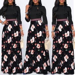 Women Maxi Dress Spring Floral Print Boho Style Holiday Dress Casual Long Sleeve Party High Waist Dress Vestidos Plus Size