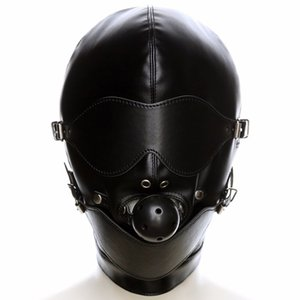 Pu Leather Fetish Mouth Gag Harness Headgear Hood Eye Mask Head Cover Bondage Restraint Adult Costume Sm Sex Game Toy For Couple Y190716