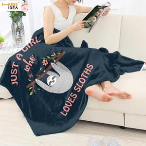 HUGSIDEA Carino Sloth Stampa Coperta flanella per divano letto molle eccellente pile Gettare coprire grandi Bedding sonore Tropic Animal Coperte