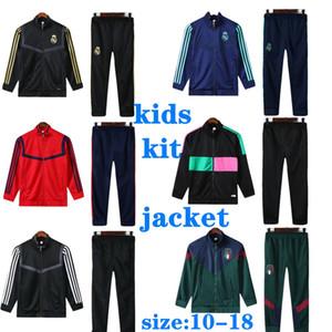 2020 이탈리아 어린이 키트 Tracksuit 레알 마드리드 메시 스포츠 재킷 축구 훈련 정장 Tracksuits Ronaldo MBappe 20 21Maillot de Foot Jacket Kit