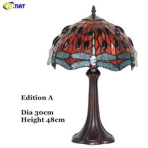 FUMAT Art Lampe de table de haute qualité créative Dragonfly Stained Glass Table Lamp Home Décor Pour Salon Bureau Luminaires
