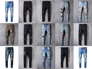 22 diseños Marca AMI Jeans Ropa de diseño pantalones para hombre Soldado carretera Pantera Negro dril de algodón delgado recto Hip Hop del motorista agujero jeans para hombres