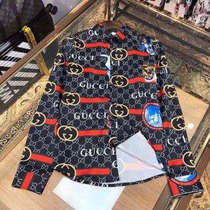 2020 de lujo de la primavera y el otoño adelgazan la camisa para hombre de la medusa ß = 2,020 camisa de vestido floral 3D de oro floral de manga larga de los hombres de negocios Casua
