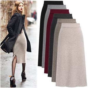 Large Size Womens Wool Woolen Skirt Split Hem Wrap Hip Dress A-Line High Waisted Elastic Waist Skirts for Spring Autumn