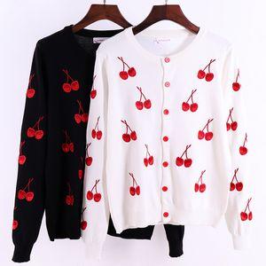 Giacca donna maglioni Cherry stampa Donne Cardigan Primavera Autunno modo delle donne di lavoro a maglia maglione del cardigan femminile del cappotto