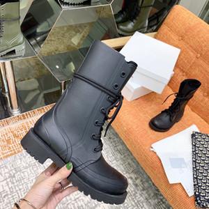 NOUVEAU3 femmes Fashion Designer bout rond Wedge Armée Bottines fille Bottes Tactical Combat mi-mollet Lace Up Chaussures Taille imperméable 35-40