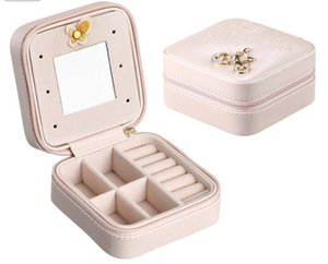 DHL Mini Travel portable leather jewelry box with mirror cosmetic makeup organizer earrings Casket storage box nf