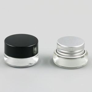 12 х 3g Путешествия Мини Glass Sample Крем Макияж Jar Контейнеры с Silver Black Люки 1 / 10oz Малый стекло крем Пот