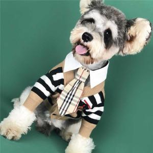 Nakış Harf Moda Kış Köpek Coat Pet Açık Giyim Teddy Bulldog Schnauzer Giyim ile Köpek Çizgili Triko