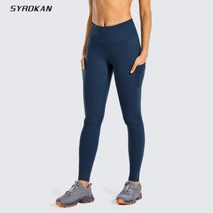 Pantaloni allenamento di yoga opaco spazzolato Light-Fleece Leggings di SYROKAN donne con Pocket Squat prova di 28 pollici Y200529