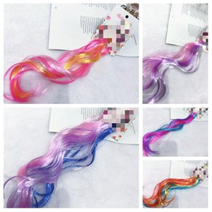 Kids Glitter Hair Princess Dress Up Braided Curly Wig Hair Extension Hairpin Hair Accessories party favor color wig T2I51072