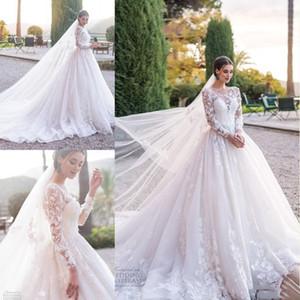 Abiti da sposa in pizzo modesto Illusion maniche lunghe collo gioiello appliquato con corte abiti da sposa Western Garden Train